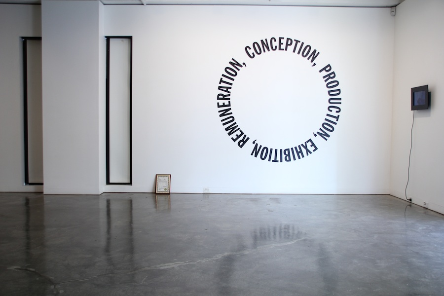 Installation view. Dara Gill, Certificate of Artist Authenticity, 2012 and Untitled (Personal Economy), 2012